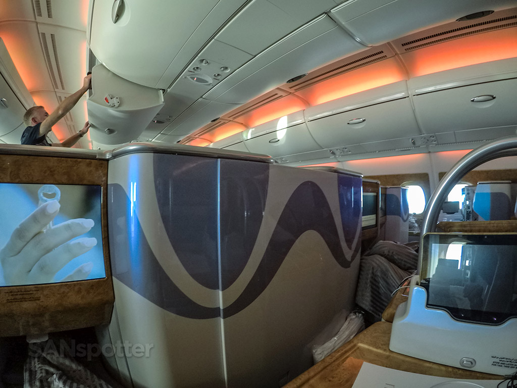 Emirates A380 business class mood lighting