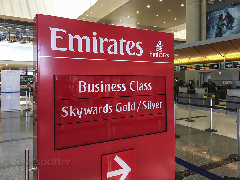 Emirates business class check in LAX