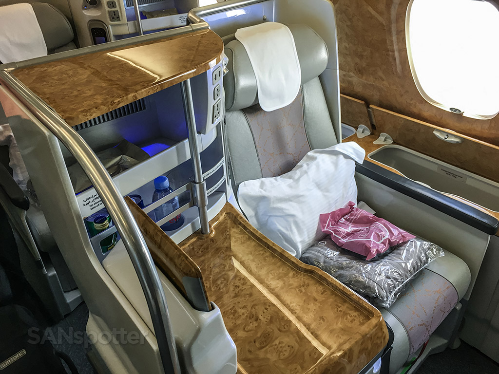 Emirates a 380 business class wood materials