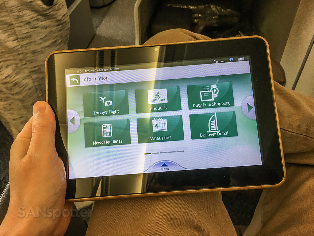 Emirates business class handheld tablet