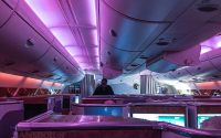 Emirates A380 purple mood lighting