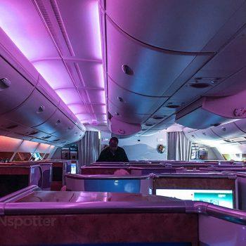 Emirates A380 purple mood lighting