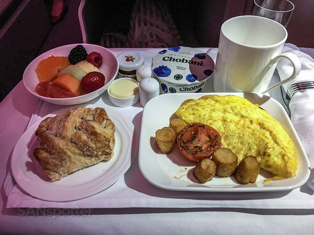 Emirates business class breakfast