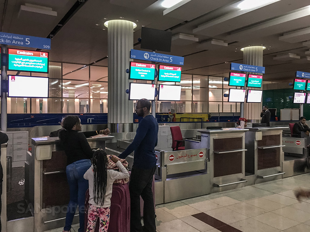 Emirates check-in counters Dubai airport
