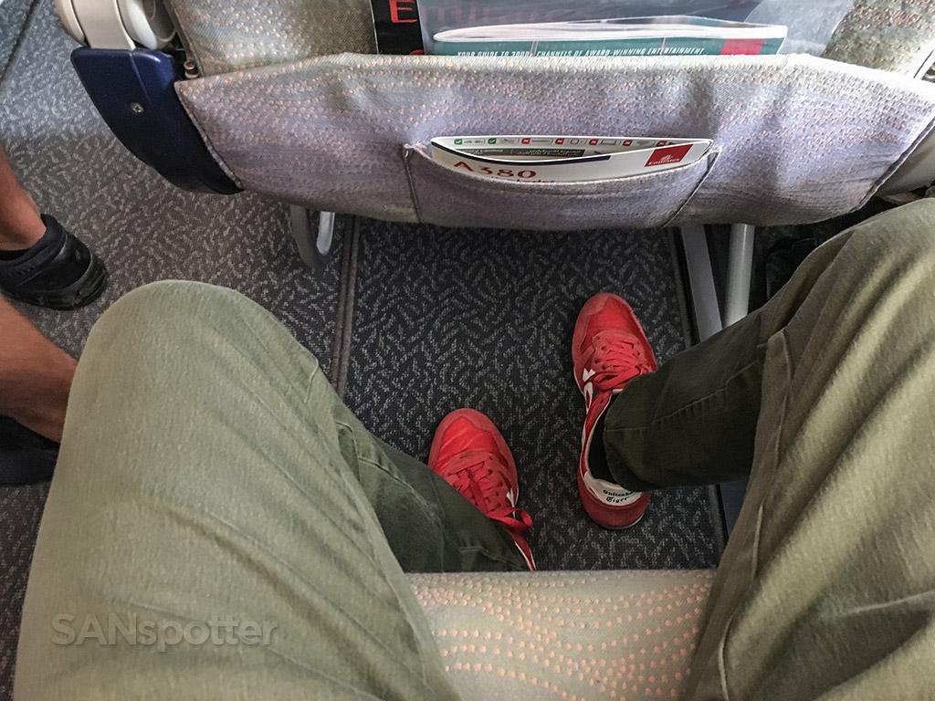 Emirates A380 economy class leg room