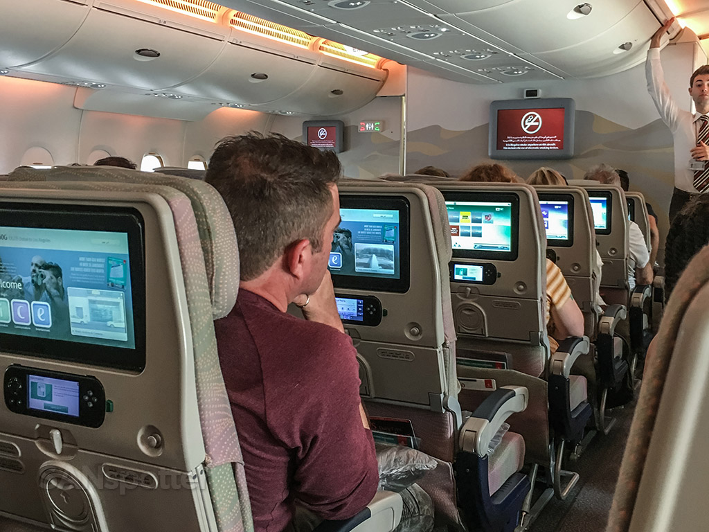 Emirates A380 economy class cabin pic