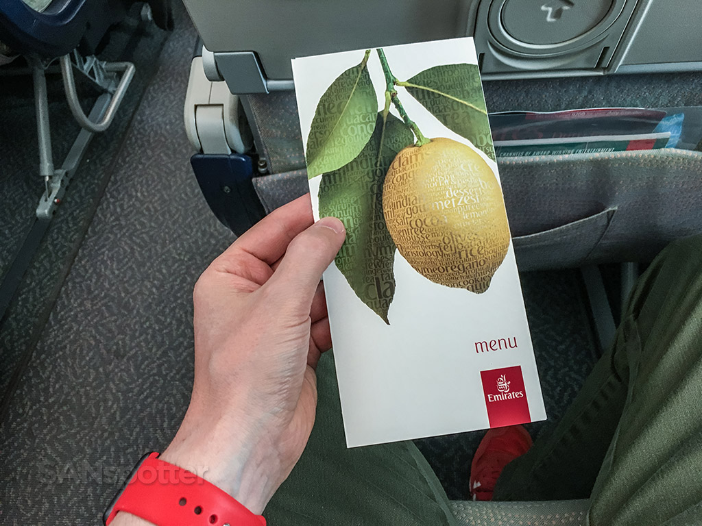 Emirates economy class menu