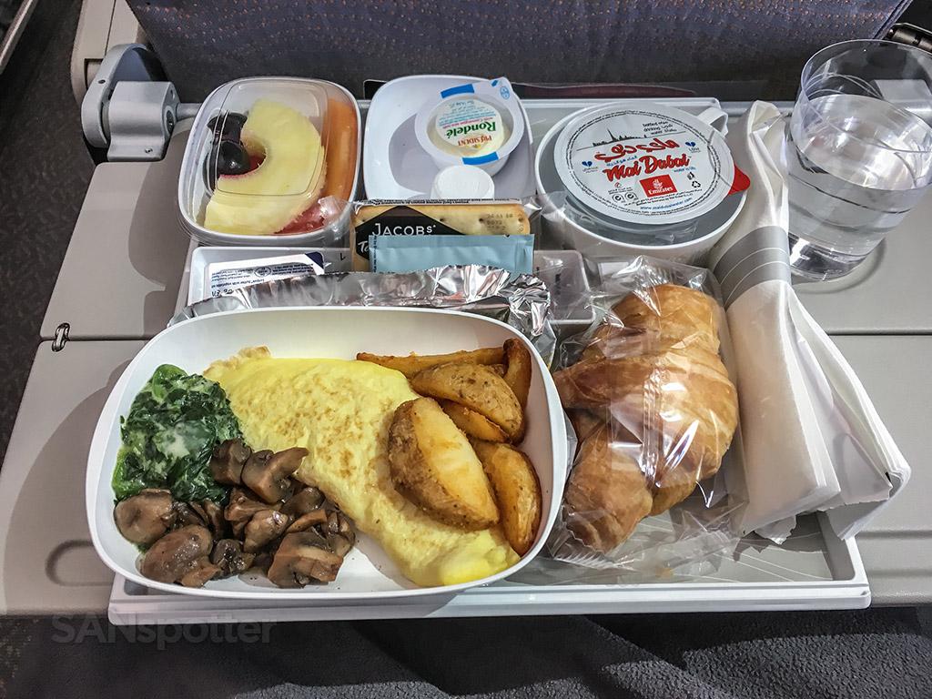 Emirates economy class breakfast