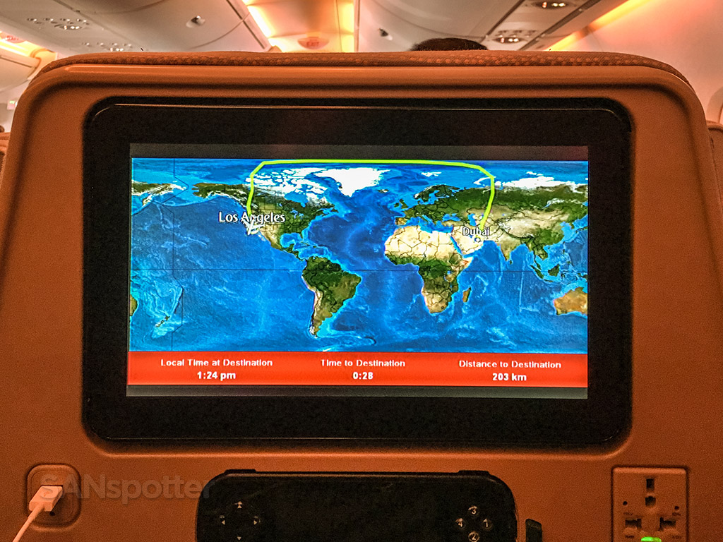 Full Emirates A380 Dubai to Los Angeles flight