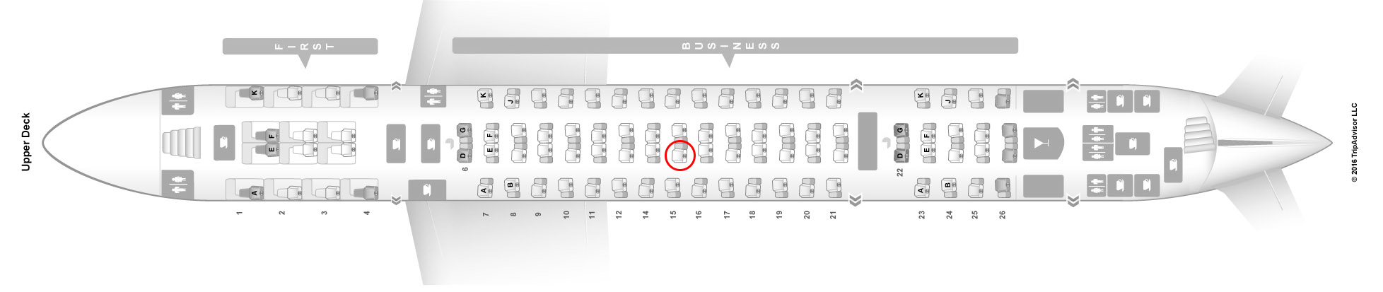 Emirates A380-800 upper deck business class seat map