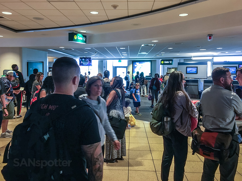 Overcrowded terminal one San Diego airport