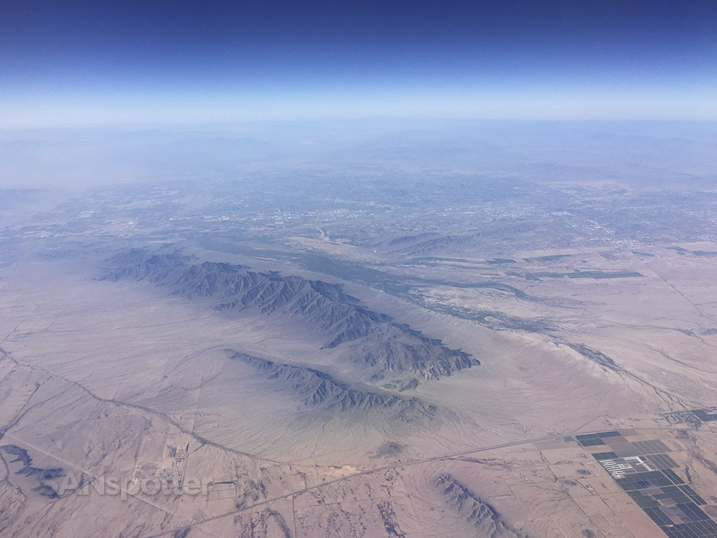 Flying over Arizona desert