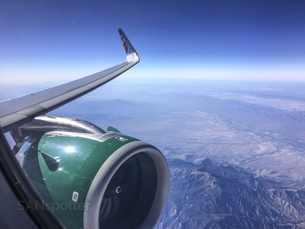 Frontier Airlines wing desert southwest