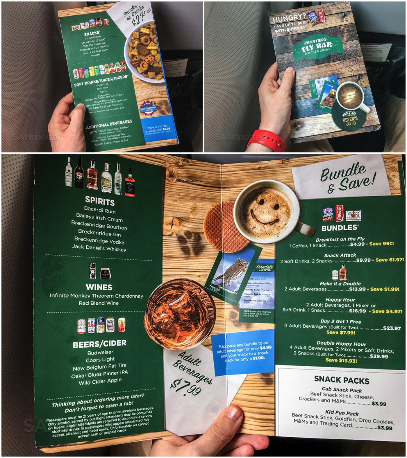 Frontier Airlines food for purchase menu