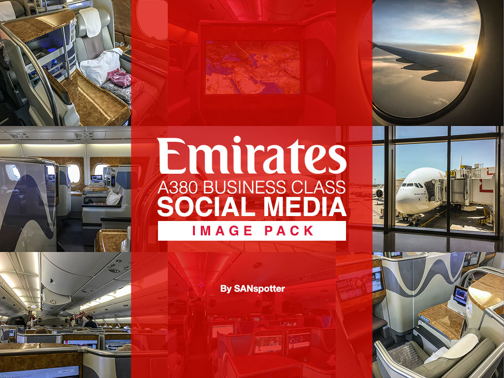 Emirates A380 business class social media image pack