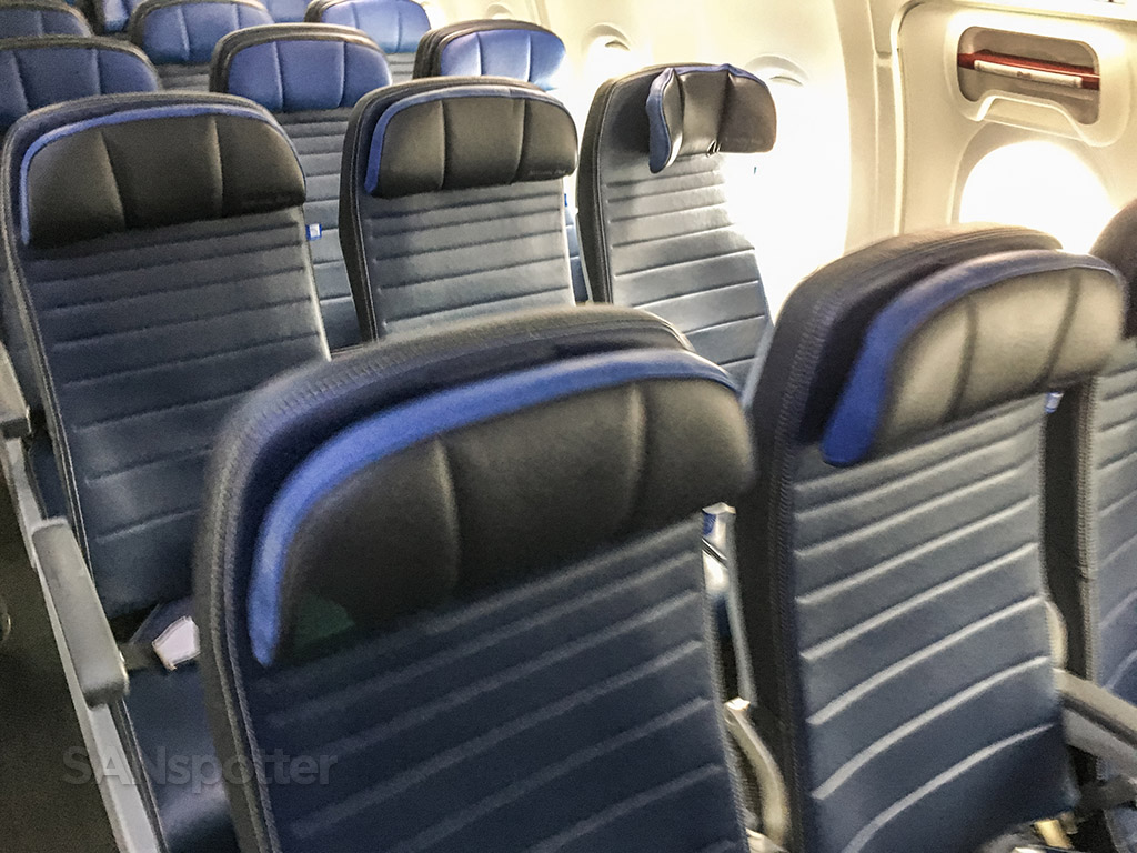 United Airlines 737–800 economy class seat headrests