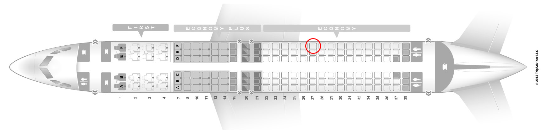 United Airlines 737-800 seat map