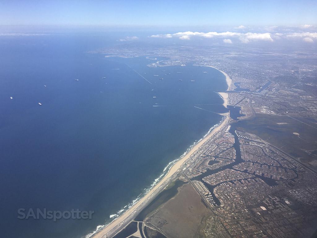 Flying over Long Beach Harbor