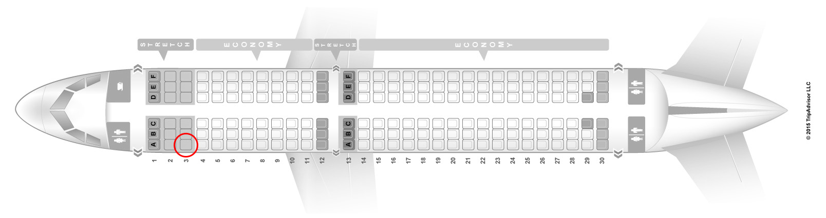 Frontier Airlines A320neo seat map