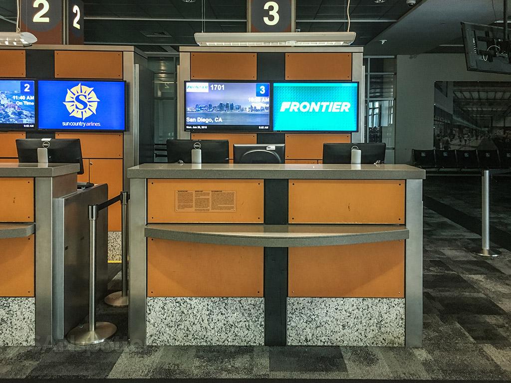 Frontier Airlines gate three podium Austin airport