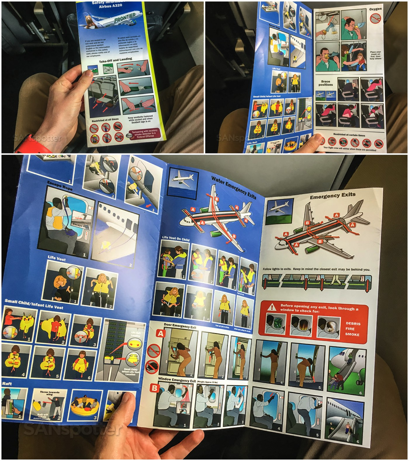 Frontier Airlines A320neo safety card