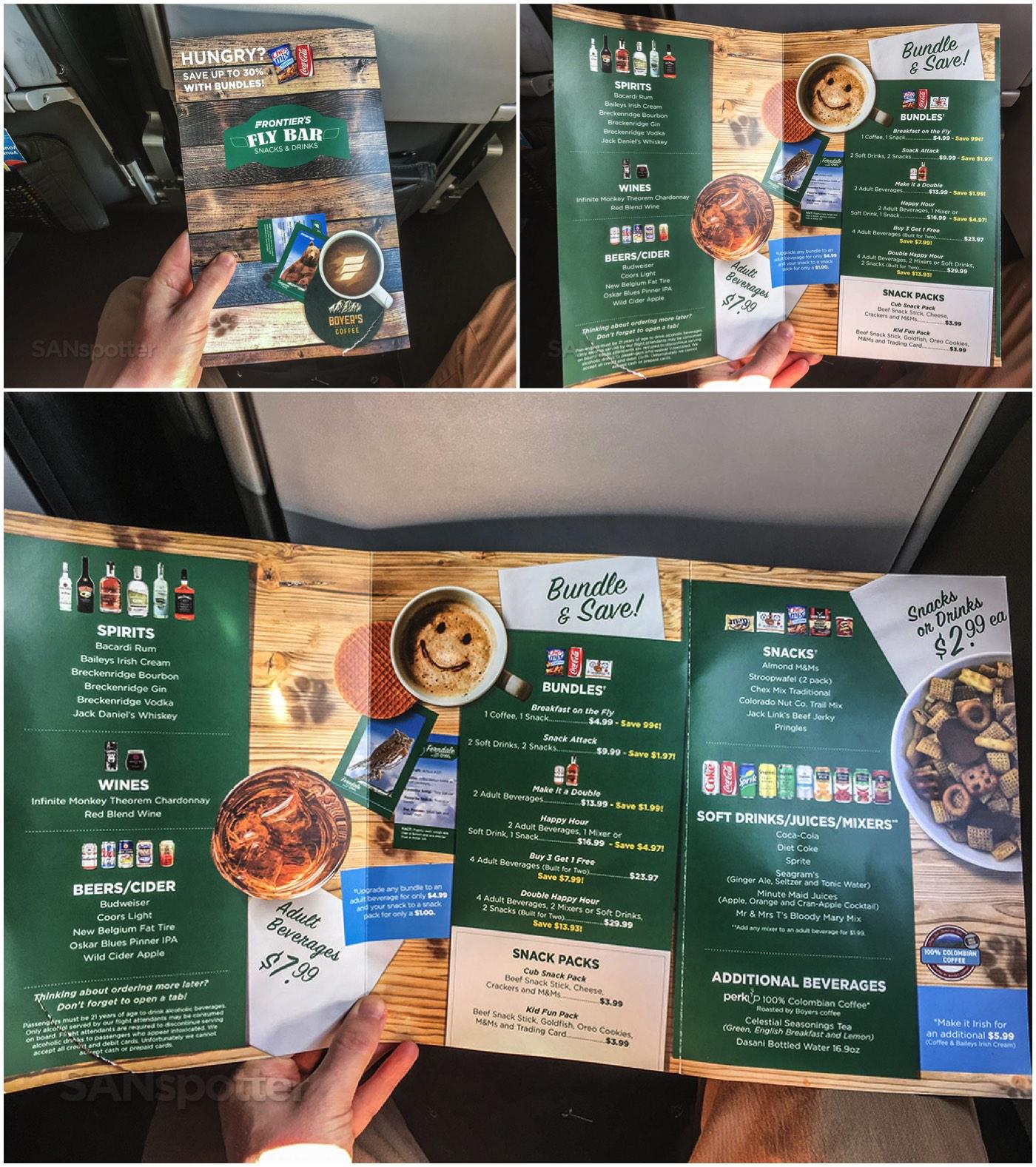 Frontier Airlines snack menu