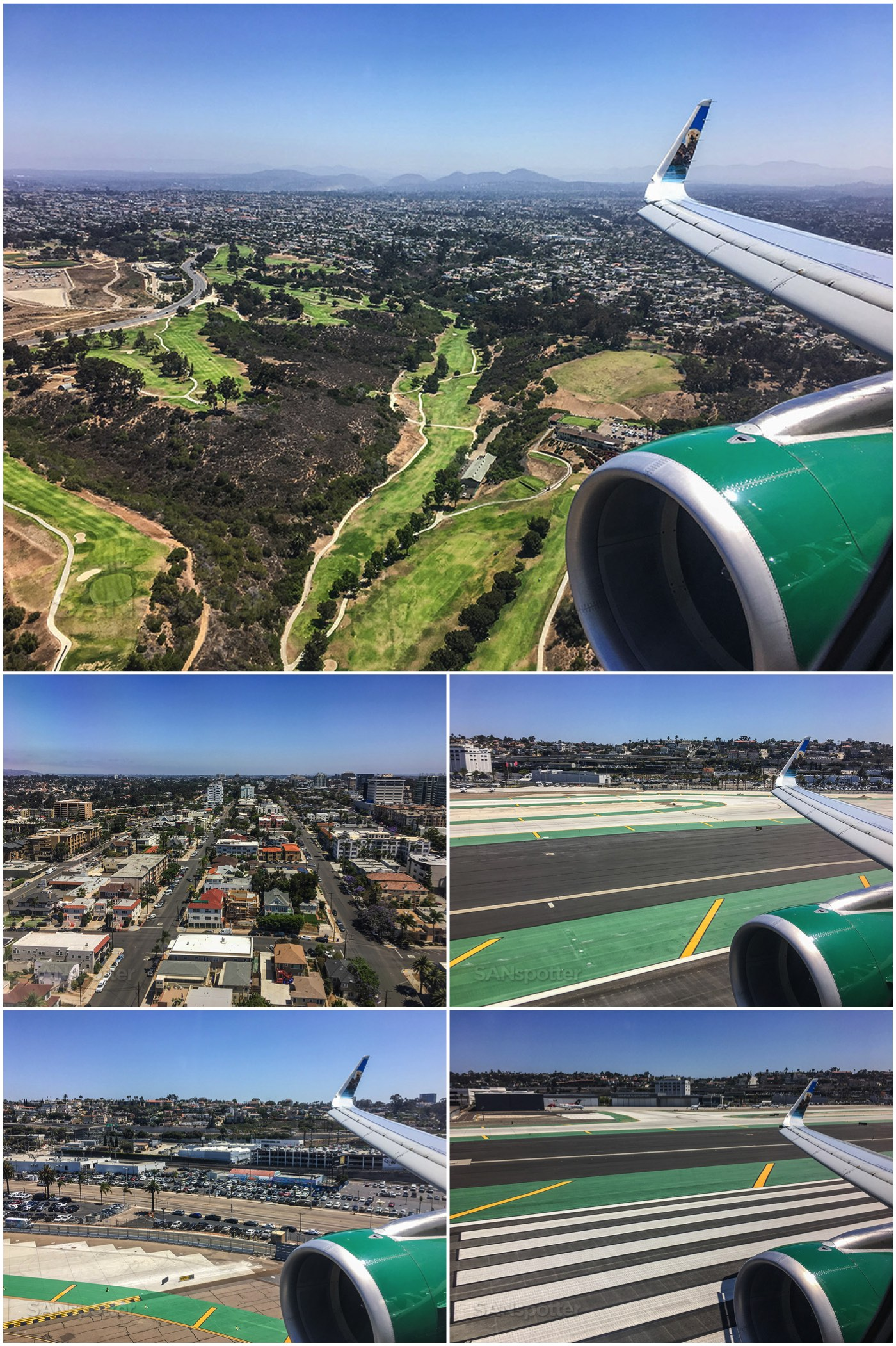 Approach into San Diego airport Frontier Airlines