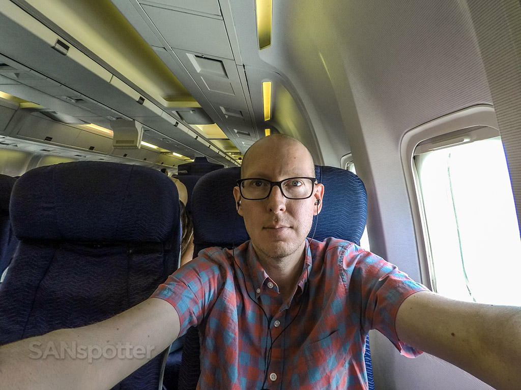 SANspotter selfie Hawaiian Airlines 767 interior
