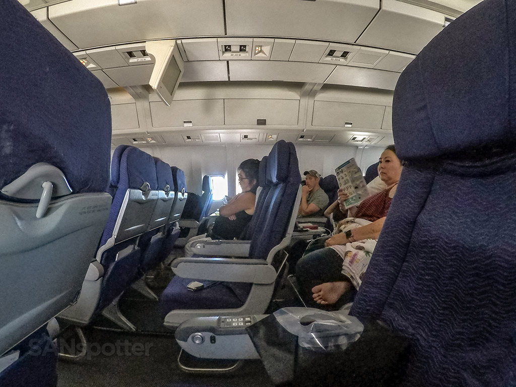 Hawaiian Airlines 767 economy class cabin in flight