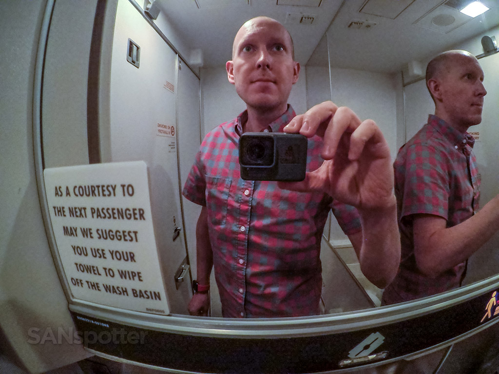 Hawaiian airlines 767 bathroom selfie