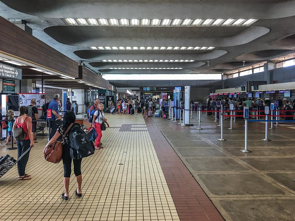 Airport terminal baggage drop