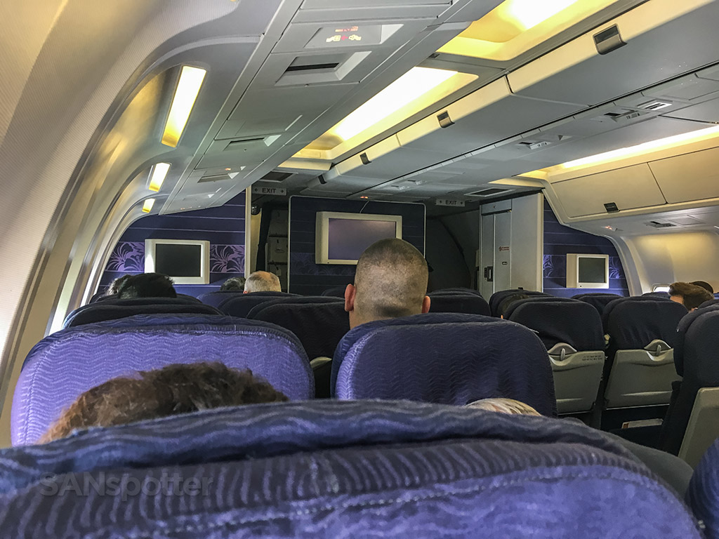 Hawaiian Airlines 767 purple interior