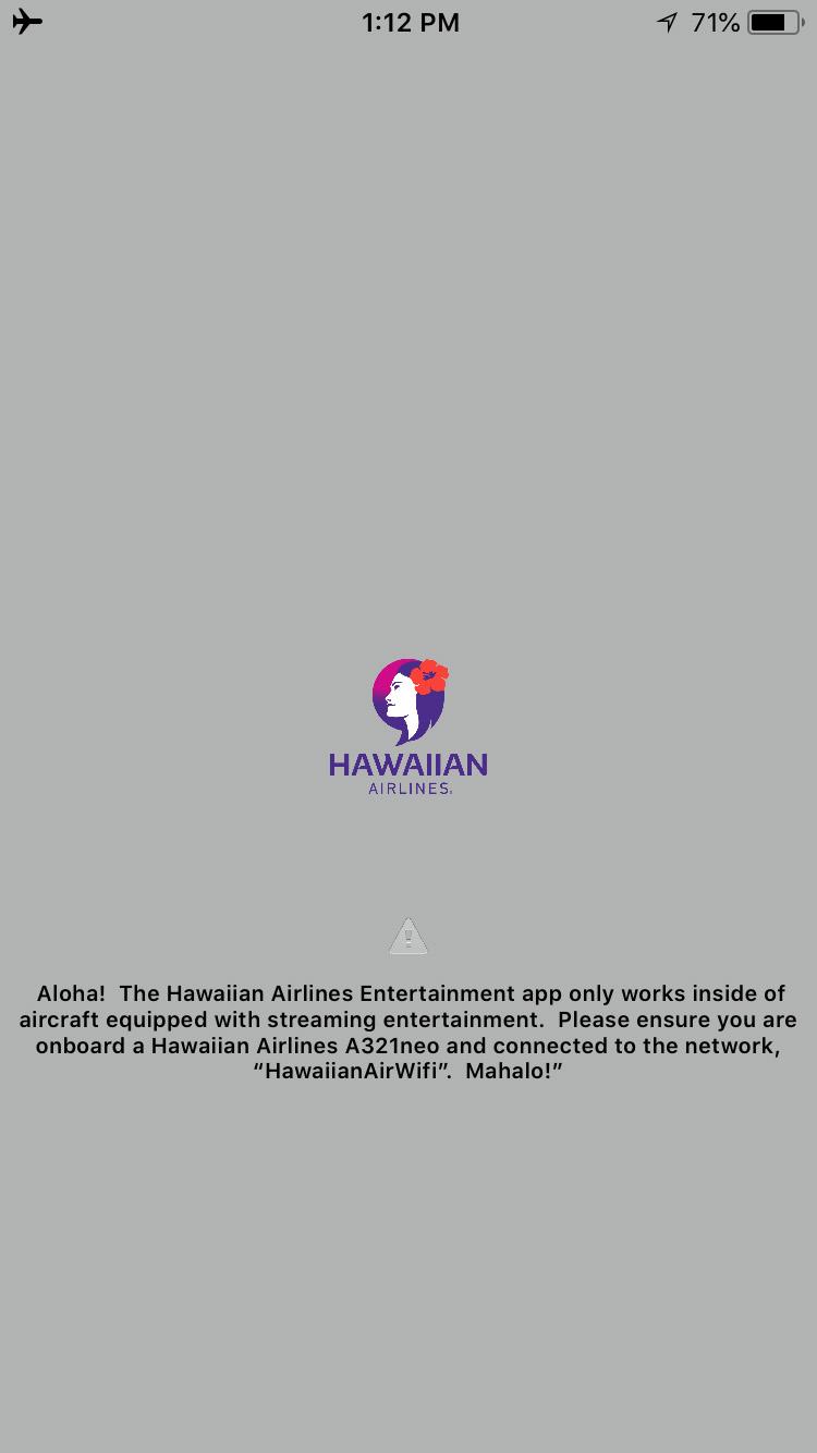 Hawaiian airlines Wi-Fi error