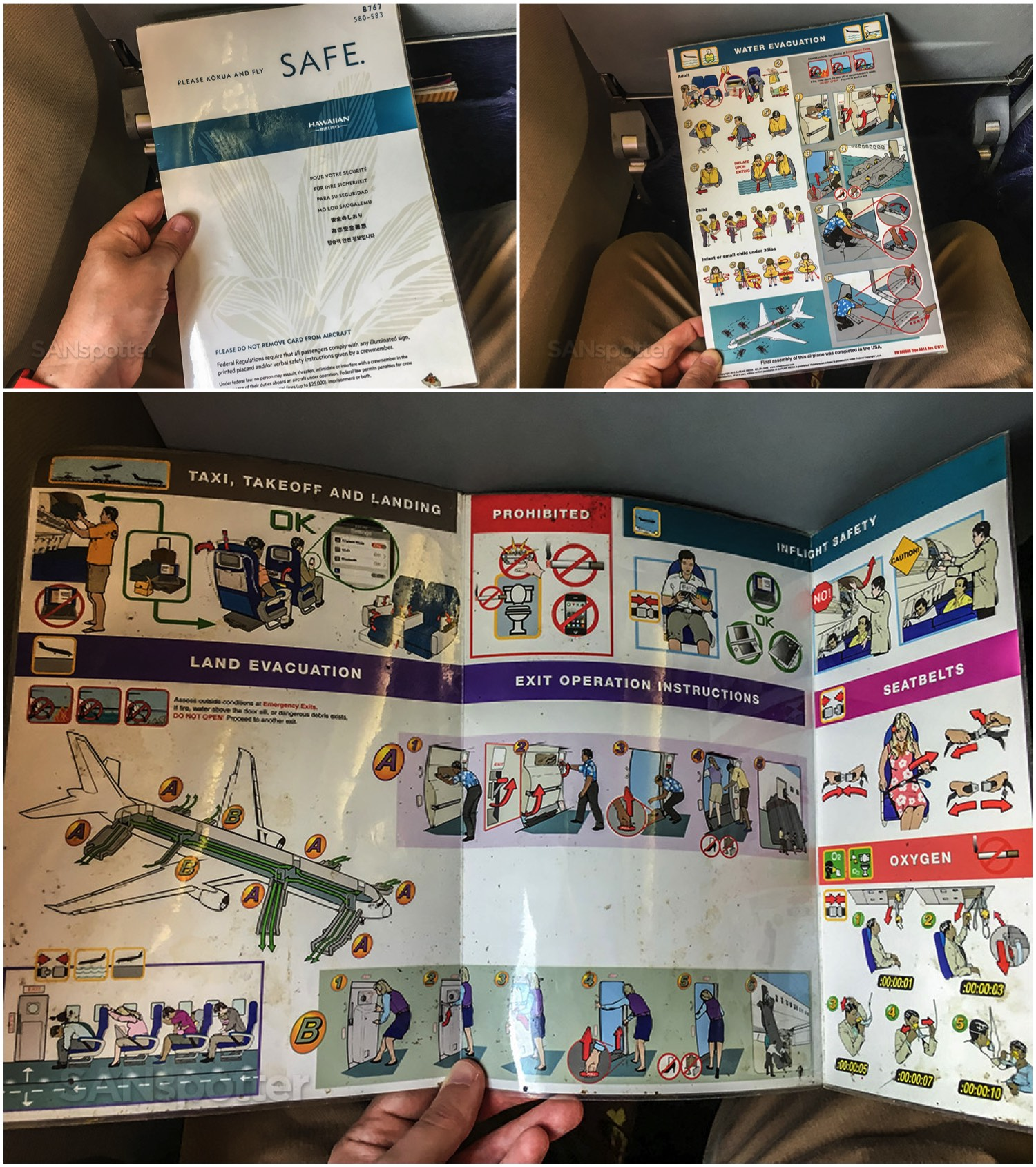 Hawaiian Airlines 767-300 safety card