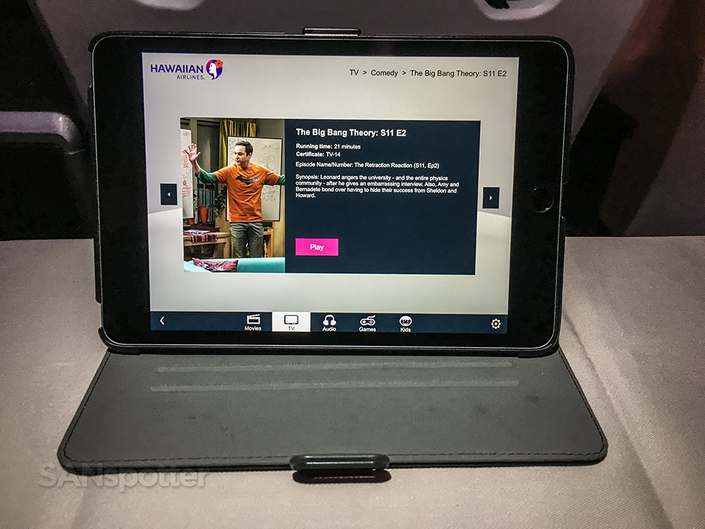 Hawaiian Airlines first class iPad