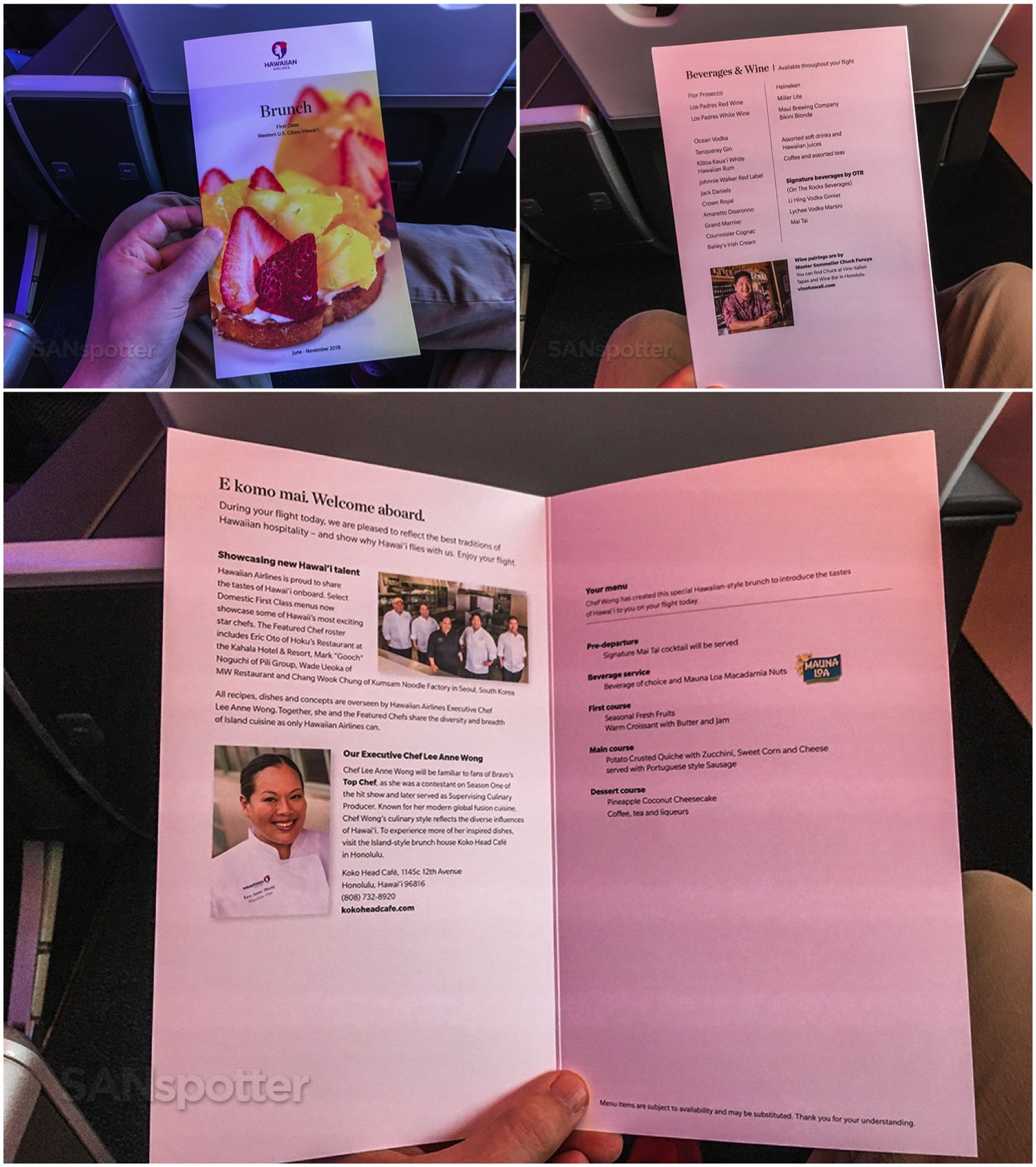 Hawaiian Airlines First class breakfast menu