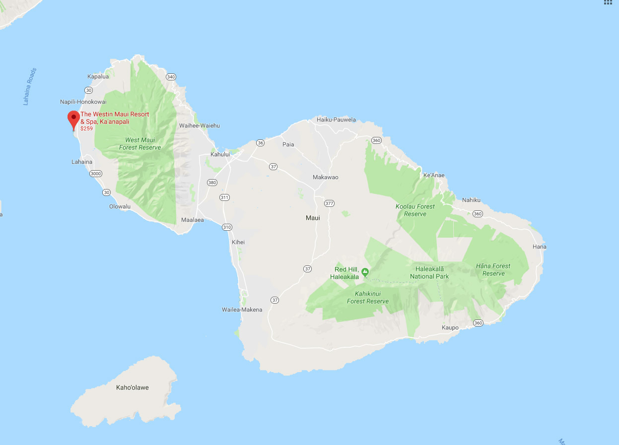 Location map of the westin resort and spa Maui