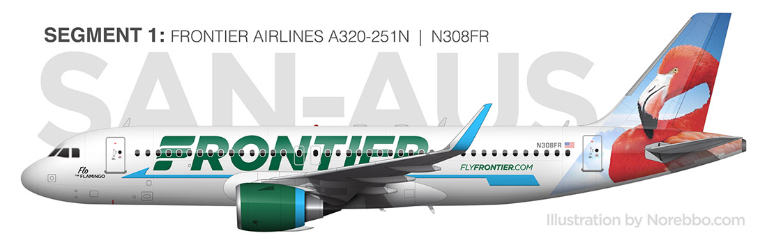 Frontier Airlines A320neo flo the flamingo
