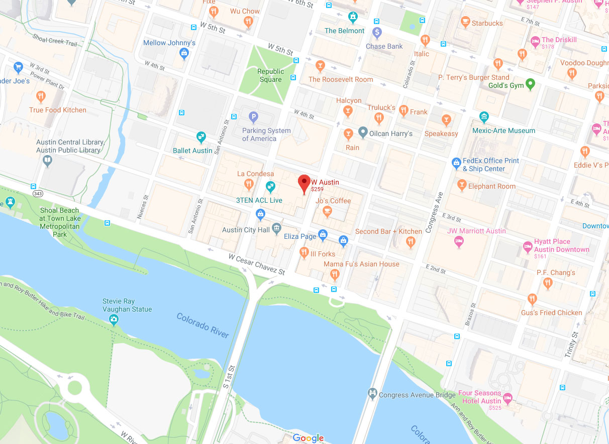 Location map of the W Hotel downtown Austin Texas