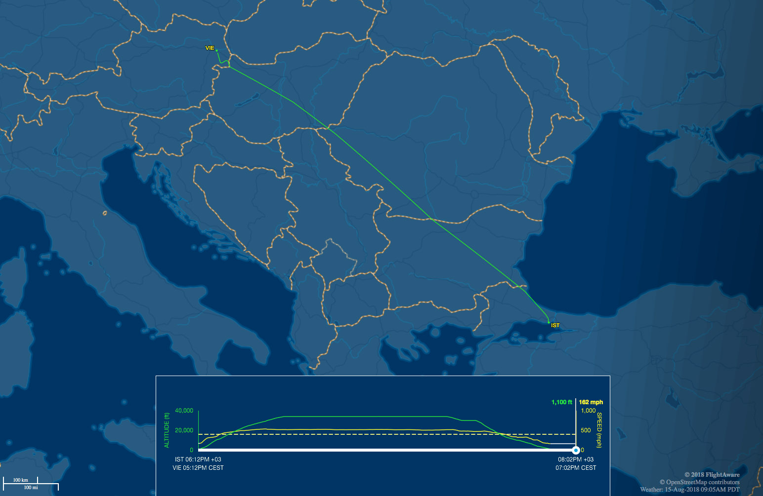 Istanbul to Vienna route map