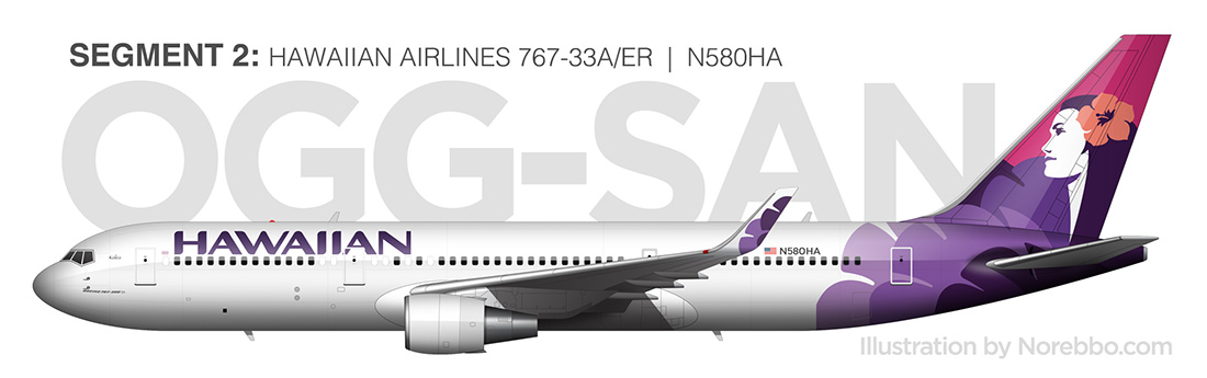 Hawaiian Airlines 767-300/ER side profile