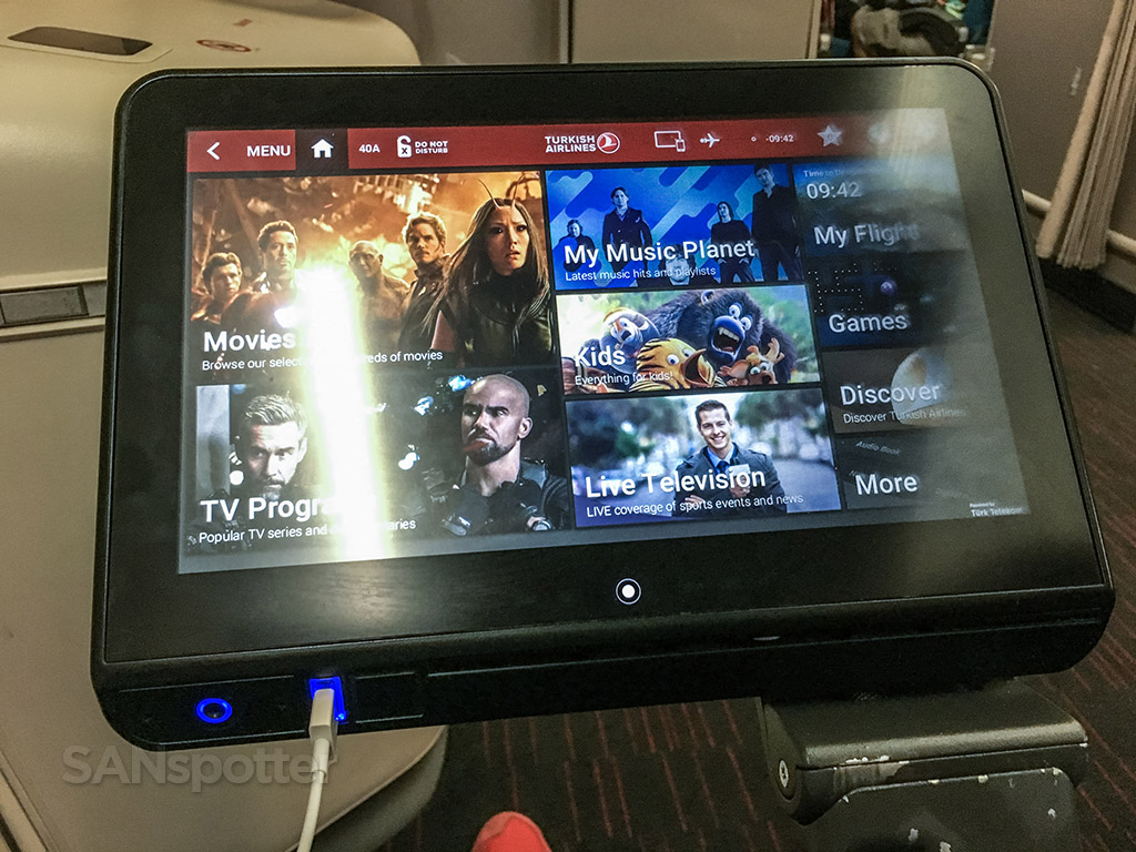 Turkish Airlines 777 Dash 300 entertainment system