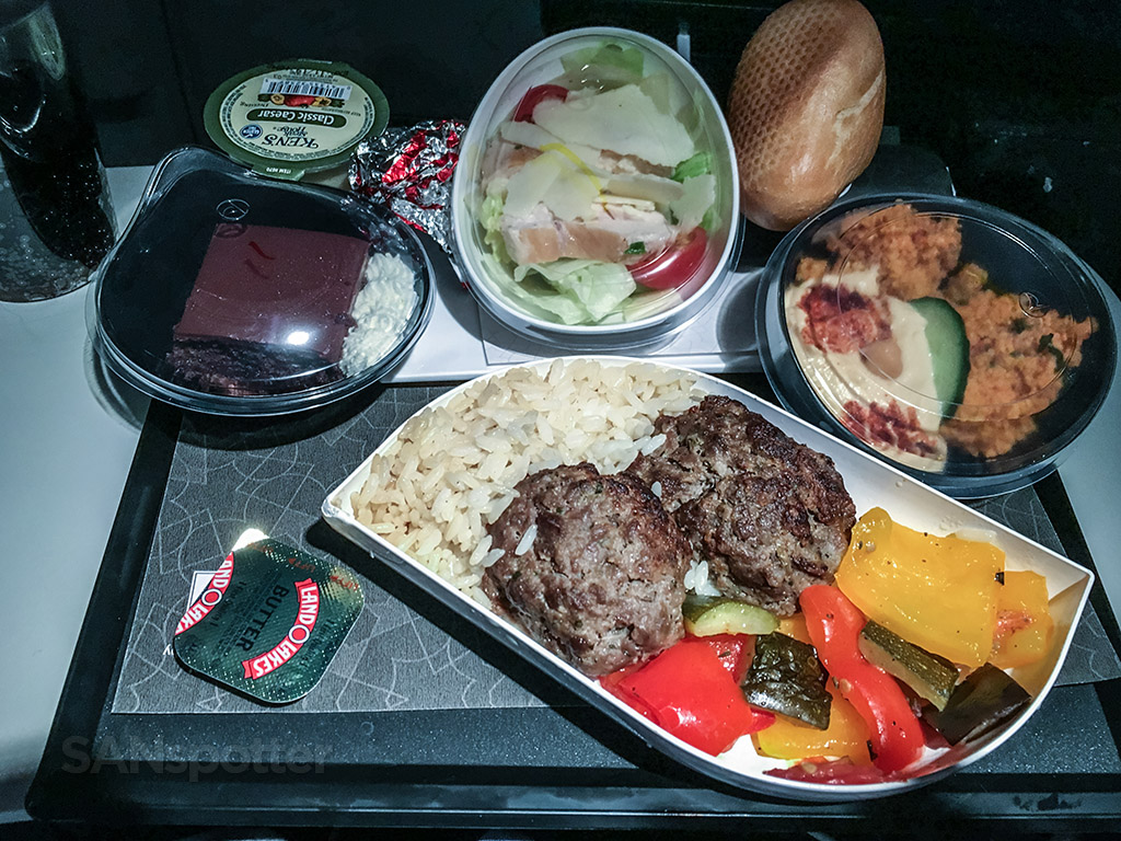 Turkish Airlines economy class dinner