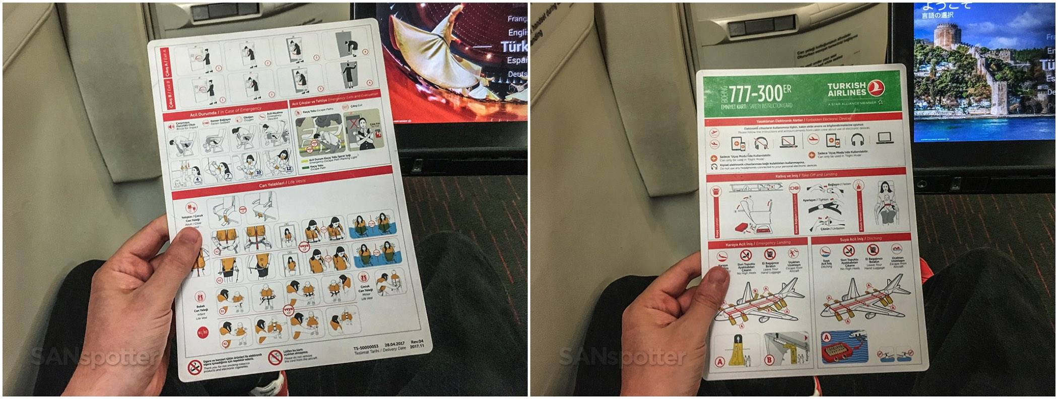 Turkish Airlines 777-300 safety card