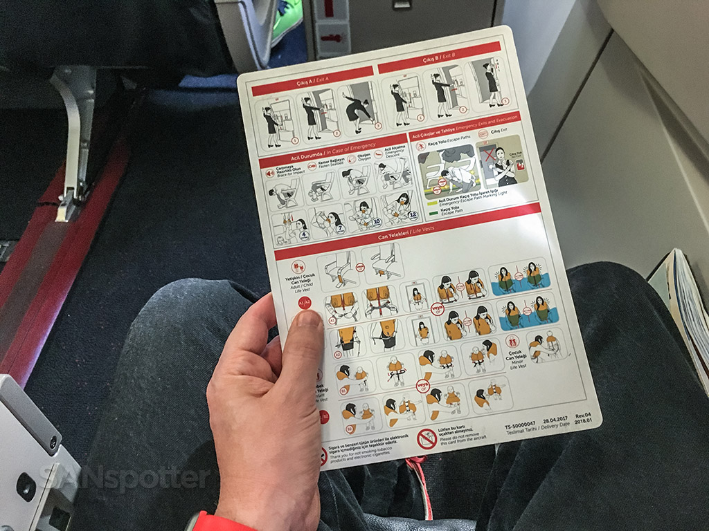 Turkish Airlines A321 safety card back side