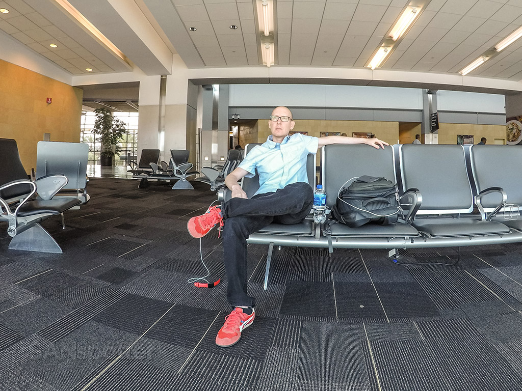 SANspotter selfie San Diego airport blue shirt