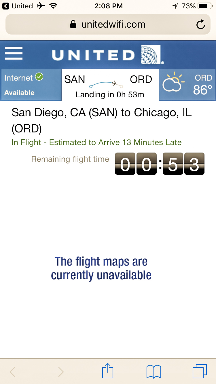 United Airlines 737-900ER economy class San Diego to Chicago