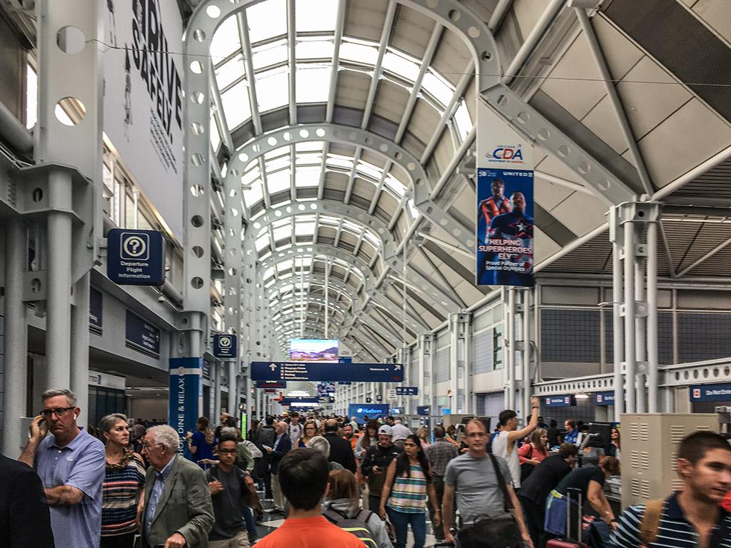 United airlines B concourse Chicago airport interior