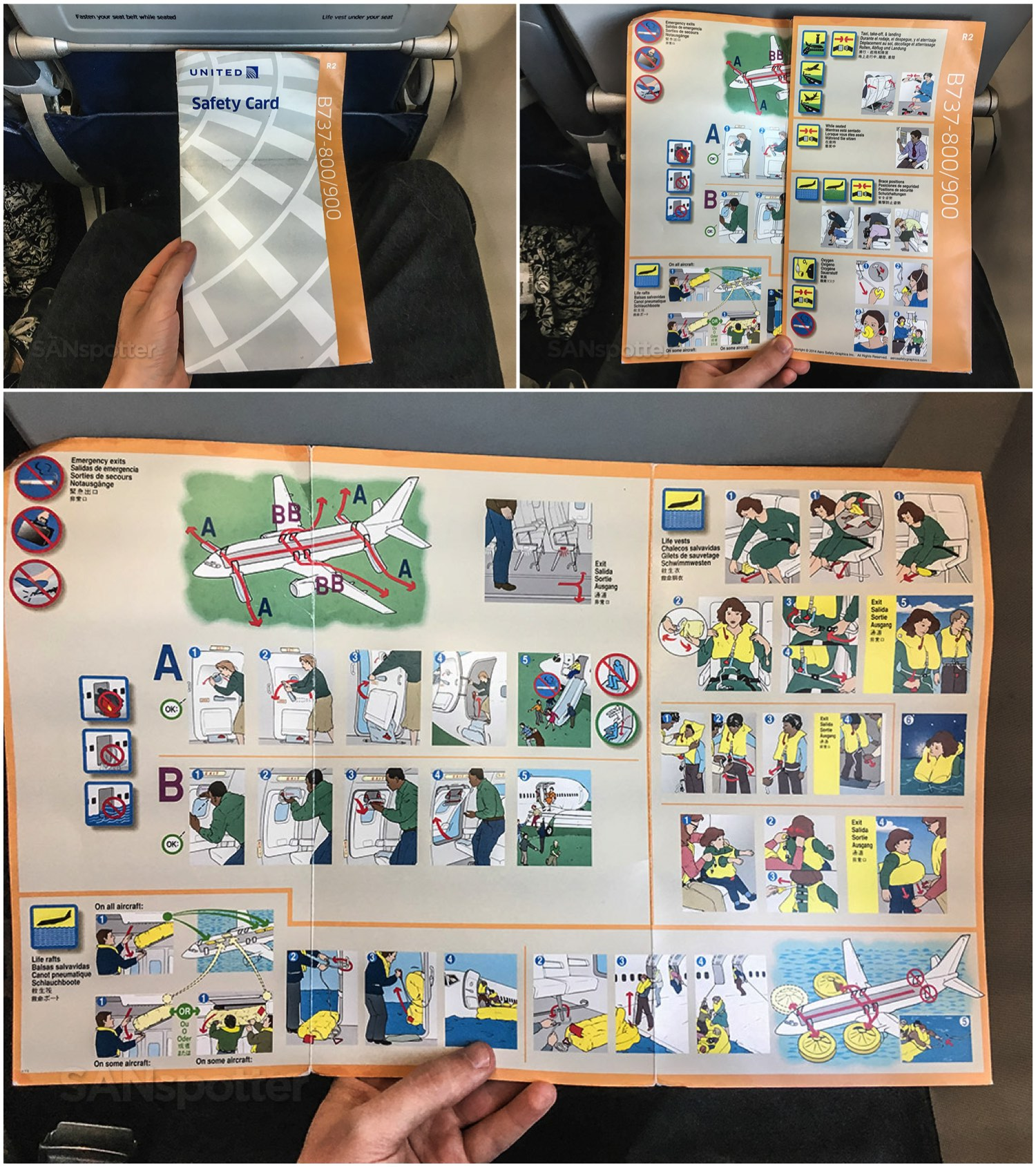 United Airlines 737–900ER safety card overview
