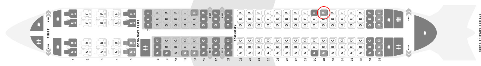 United Airlines 737-900/ER seat map